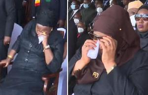 Combination photo of Mrs Magufuli (seated) and President Samia Suluhu