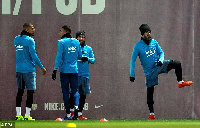 Kevin-Prince Boateng with some of his team mates during training