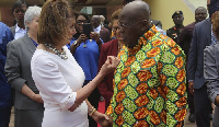 President Akufo-Addo interacting with Nancy Pelosi, Speaker of the House of Representatives