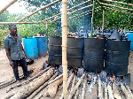 He currently produces about five barrels of akpeteshie in a month