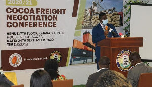 An official speaks at the 2021/2022 Cocoa Freight Negotiation Conference