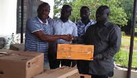 John Bugri donating the items on behalf of Hon. Martin Adjei Mensah-Korsah