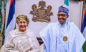 Amina Mohammed with current Nigerian president Muhammadu Buhari