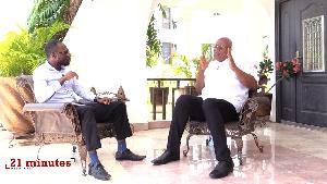 GhanaWeb editor, Kwabena Kyenkyenhene Boateng with Prof. Joshua Alabi