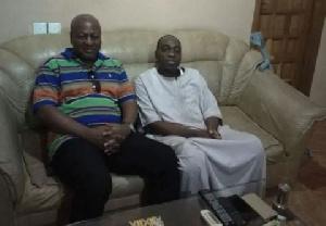John Dramani Mahama with the elder brother of the Vice President, Chief Duada Mandiaya Bawumia