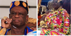 Osagyefo Amanfo Edu VI, and the queenmother of the town, Nana Ama Amissah III