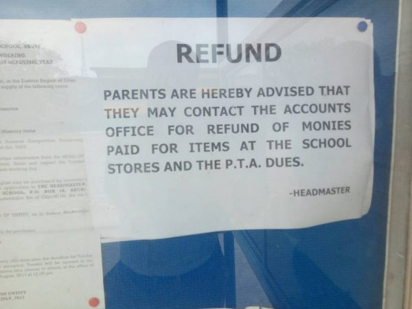 Notices have been posted for a refund of the monies to parents