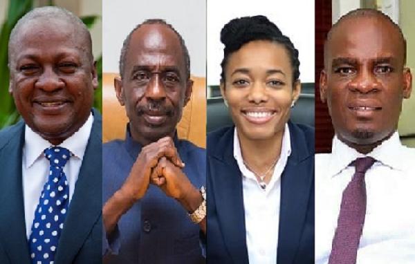 Collage (L - R) of John Mahama, Asiedu Nketia, Zanetor Agyeman Rawlings and Haruna Iddrisu
