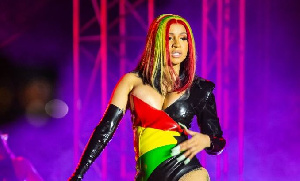 Cardi B performing at the Accra Sports Stadium