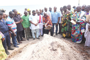 Pres Akufo-Addo cutting the sod for the commencement of the Ningo-Prampram Coastal Proj.Protection P