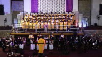 Sixteenth Angelic Choir on stage during 'Praise Ye The Lord' concert