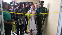 Kwame Asuah-Takyi(right) looks on as Spanish Ambassador to Ghana commissions an ultra-modern (MIC)