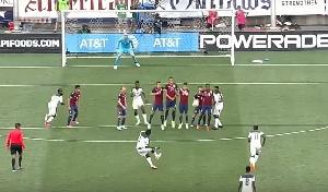 Asamoah Gyan scored a free kick