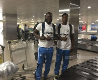 Aduana Stars captain Yahaya Mohammed with a colleague at the airport
