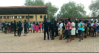 Some of the applicants gathered to be screened