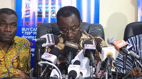 Dr Owusu Afriyie Akoto speaking to the press