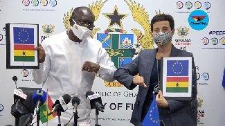 Finance Minister, Ken Ofori-Atta and the EU Ambassador to Ghana, H.E Diana Acconcia
