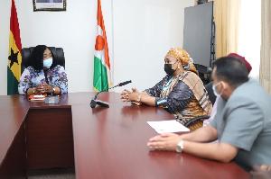 Shirley Ayorkor Botchwey in a meeting with H.E. Mrs. Lamido Salamatou Bala Goga, Ambassador to Niger