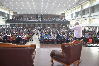 Former President Jerry John Rawlings addressing students at KNUST