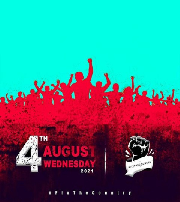 #FixTheCountry demo is slated for August 4