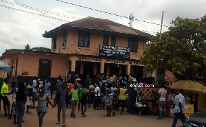 Residents massed up at the police station