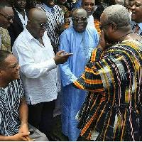 Nana Addo  and  President Mahama meet at a function