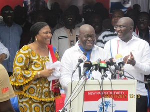 File photo of President Nana Akufo-Addo (middle) Vice President Dr Bawumia and the first lady