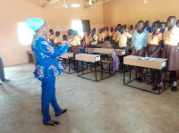 DCE for Nabdam interacting with pupils of the Kongo Junior High School