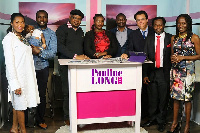 Sammy Ankrah (2nd from right) with Dr Pauline Long (1st from right) and some of the cast