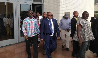 Hassan Ayariga (in suit) was in court with his sick lawyer