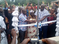 MP for Ofoase-Ayirebi, Kojo Oppong-Nkrumah cuts sod to officially open the facility