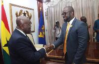 GFA President Kurt Okraku meets President Akuffo Addo