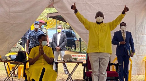 President Yoweri Museveni gestures after he was nominated as National Resistance Movement party 2021