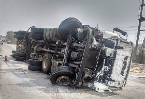 The liquefied petroleum gas (LPG) tanker that capsized on the Accra-Tema Motorway.