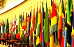 Flag of African countries lined up at a conference