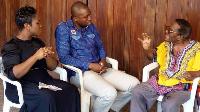 Kafui Dey and Baisiwa Dowuona Hammond speaking to Franklin Jantuah