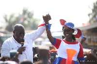 Nana Akufo-Addo addressing a gathering during his campaign tour in Ablekuma