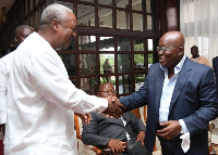 Mahama and Nana Addo at the AICC during the transition meeting