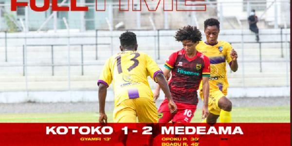 Asante Kotoko lost 2-1 to Medeama