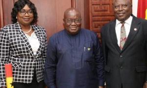 President Akufo-Addo (m) with Martin Amidu and Jane Cynthia Naa Koshie Lamptey