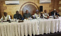 Former President Mahama was at the first round of polls held on 10 October.