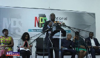 Mr. Ibrahim  Awal, Business Development Minister, launching the programme at Information Ministry