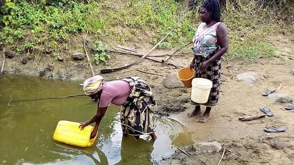Residents say that the Kwame Ntow stream is their only source of water