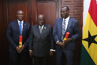 President Akufo-Addo with Dr Samuel Adotey Anum and Jonathan Rexford Magnussen