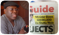 Alhaji Inusa Fuseni with Daily Guide´s front page article on Shatta Wale