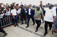 President Akufo-Addo and Vice President exchanging pleasantries with some NaBCO recruits