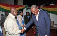 President Mahama (right) in handshake with Akufo-Addo