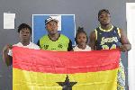 From left: Sandra, Coach Johnson Abotsi, Winifred and Amoah, ready to glow