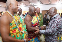 President Akufo-Addo exchanging pleasantries with Togbega Fiti V
