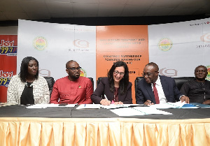 Officials of Guinness Ghana and DVLA during the signing ceremony